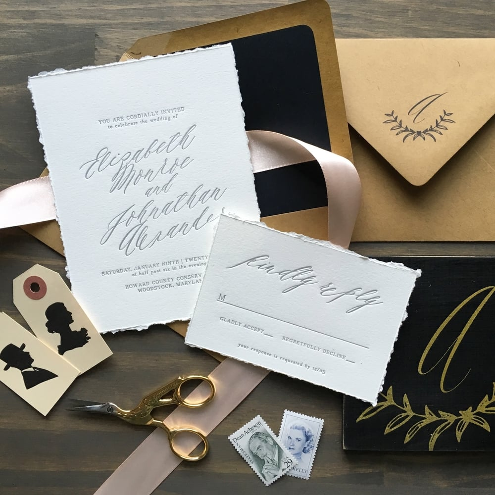 letterpress weddign invitations darling pearl black gold blush calligraphy.jpg