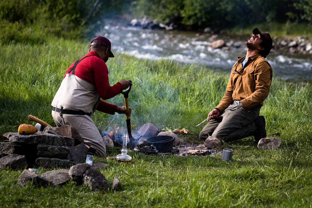 enjoying a foraged meal with my chef buddy ranga perera on the banks of the yellowstone river.  photo: steven drake