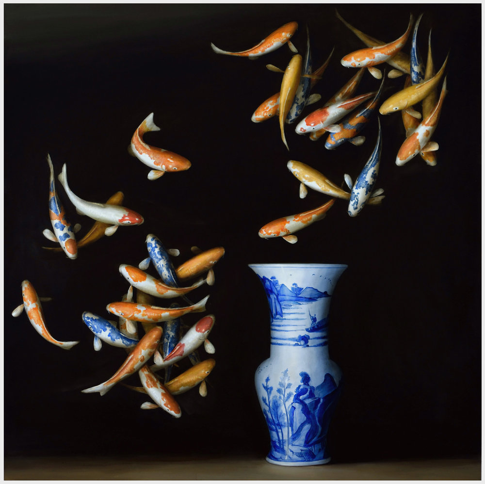 'Koi and Blue and White Vase',  2015, oil on linen, 60x60