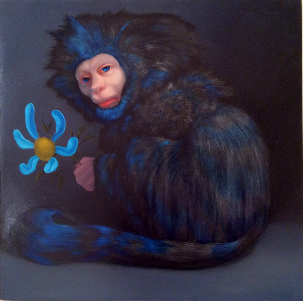 Blue Monkey-The diagnosis Will Not Be Televised, 2014, oil on panel, 15x15