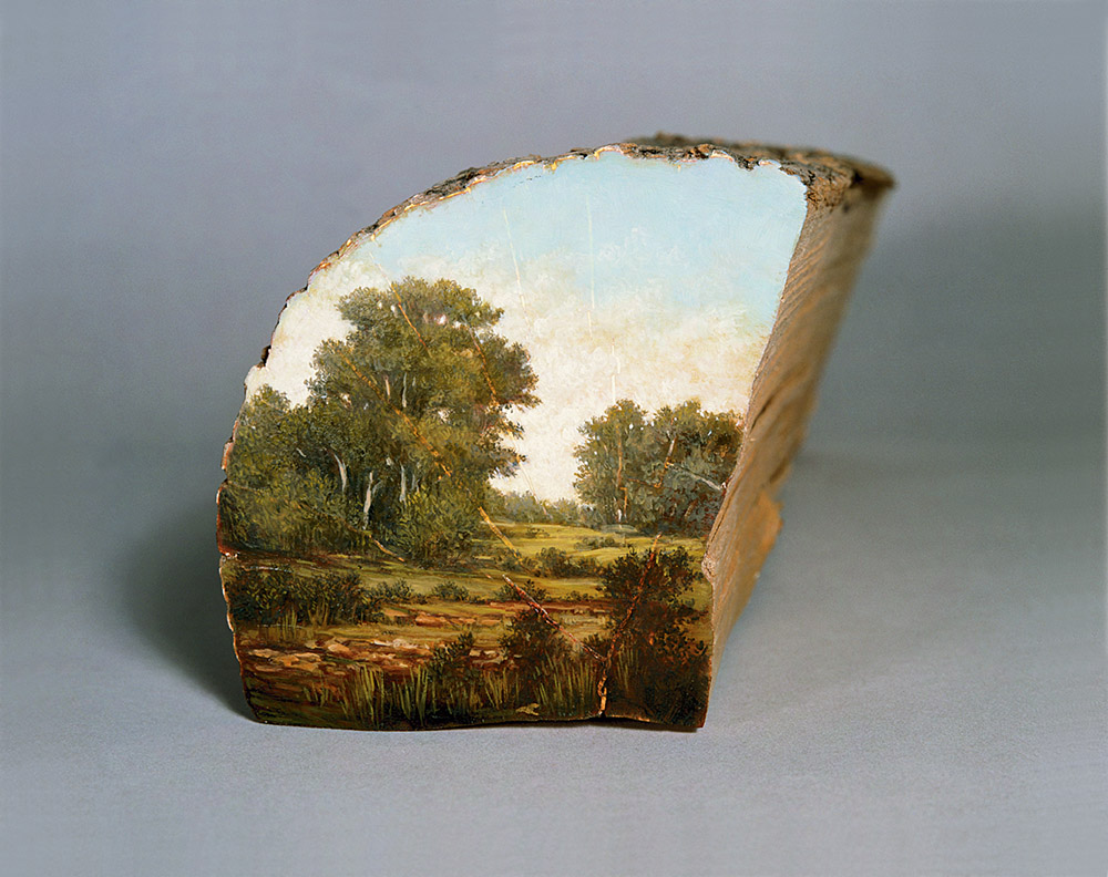 Landscapes Painted on the Surfaces of Cut Logs