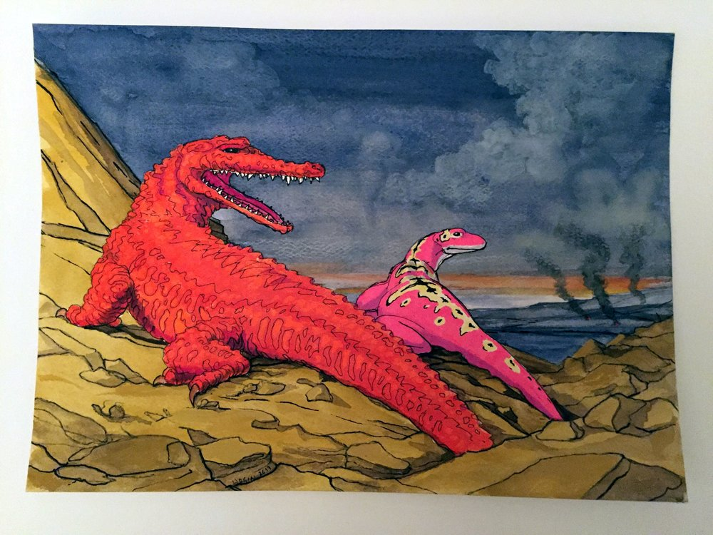 Reality Comix Habitat Diorama with Fire-Skinned Alligator