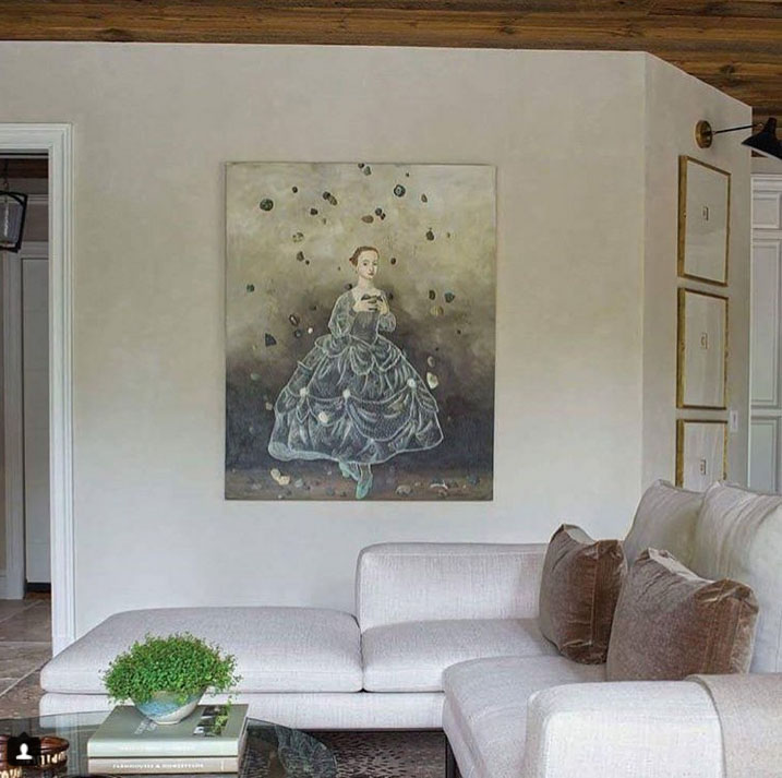 Anne Siems painting in room designed by Amy Hirsch