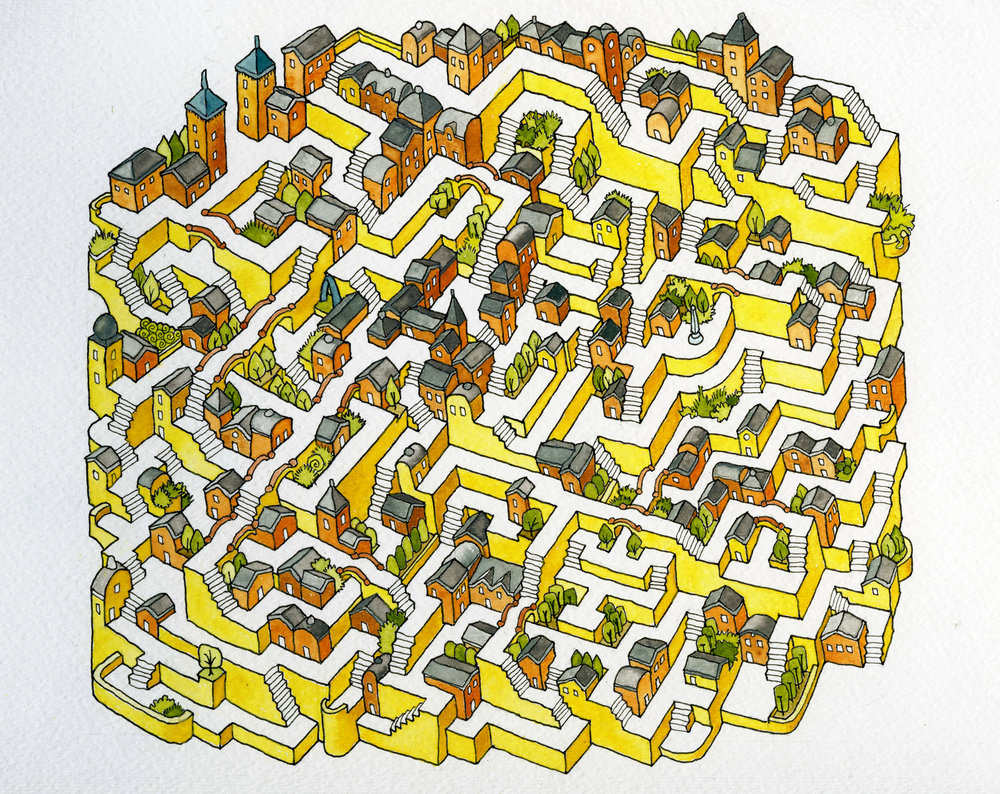 "Goldenrod Maze, 2017. 11""x9"" ink and watercolor."