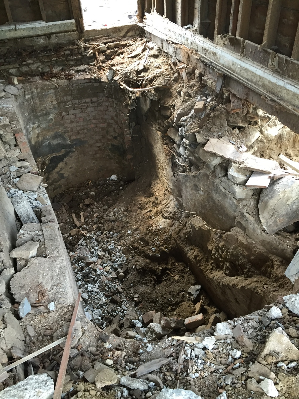 Surprise cistern when we removed old concrete floor!  September 2015