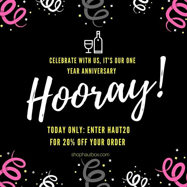 One year ago today we launched our website and luxury gift box brand! Thank you to all who have supported us and followed along. We can't wait for what's to come as we continue to grow. As our treat to you, enjoy 20% off your order today by entering HAUT20 at checkout.