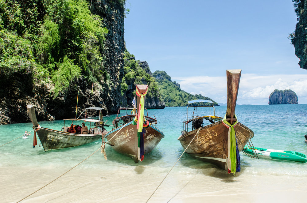 Longboats in southern Thailand.