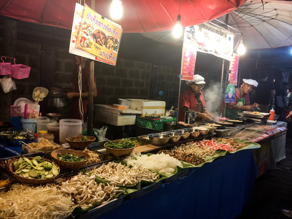 Food from a night market in Chiang Mai.