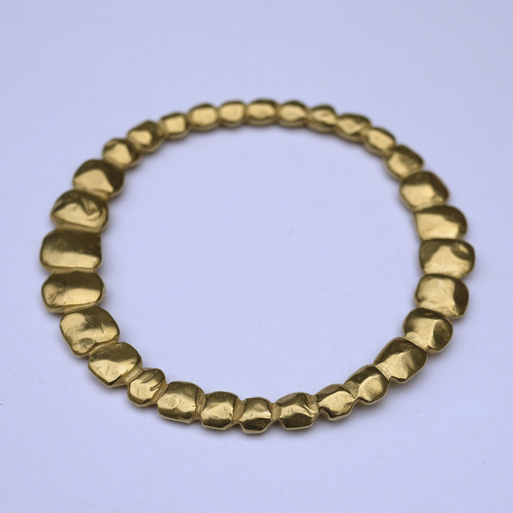 Nugget Bangle - Sterling Silver with 18ct Gold Plate