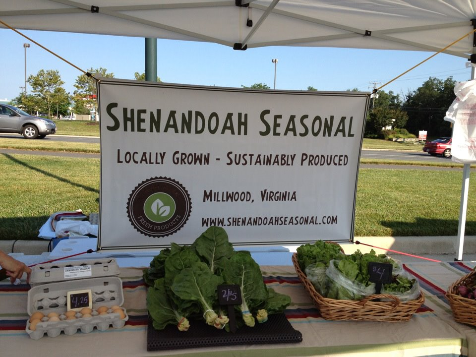 One of our first farmers market set-ups. We had a big learning curve with growing veggies!