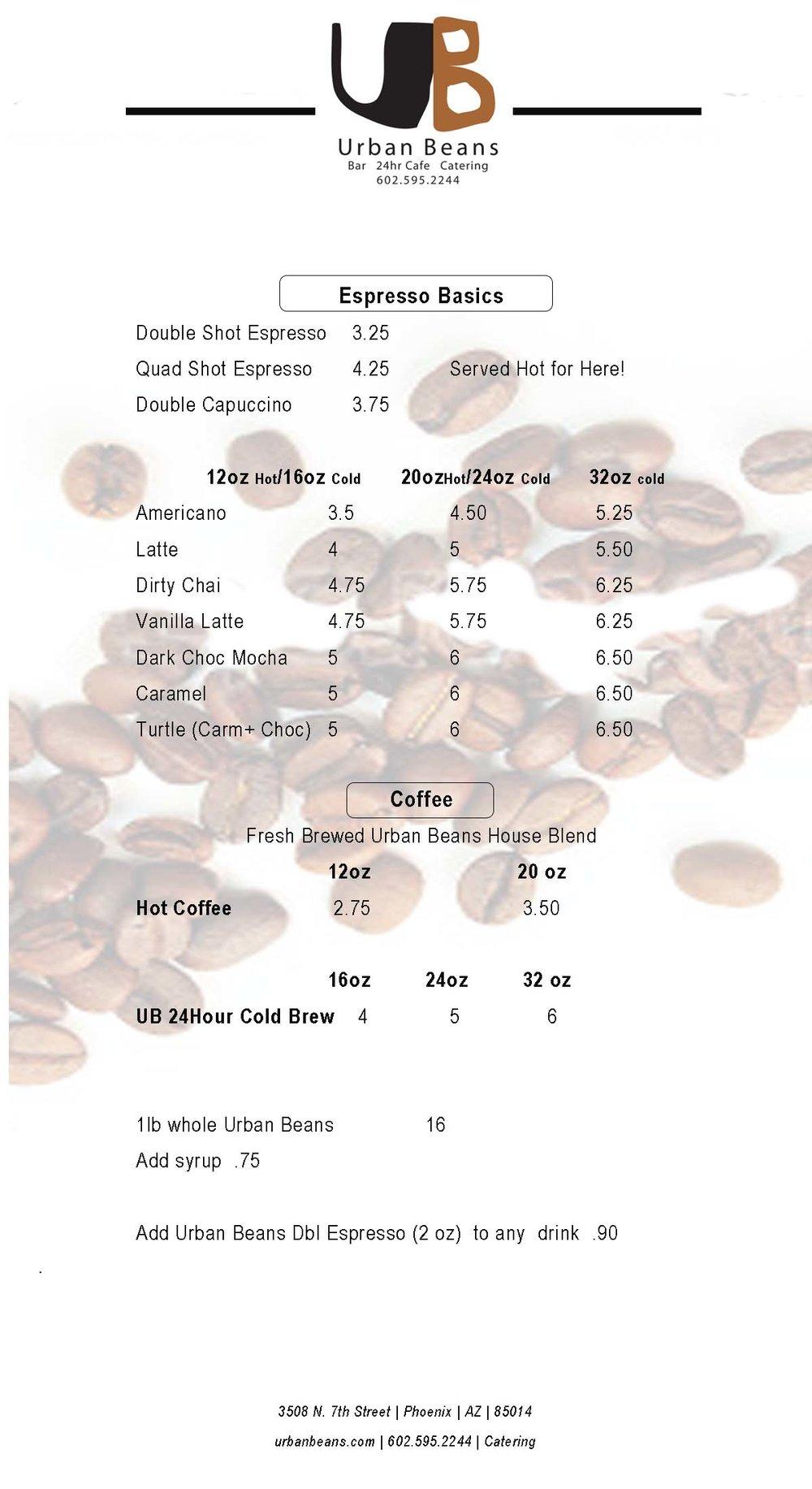 Urban Beans Espresso and Coffee Menu