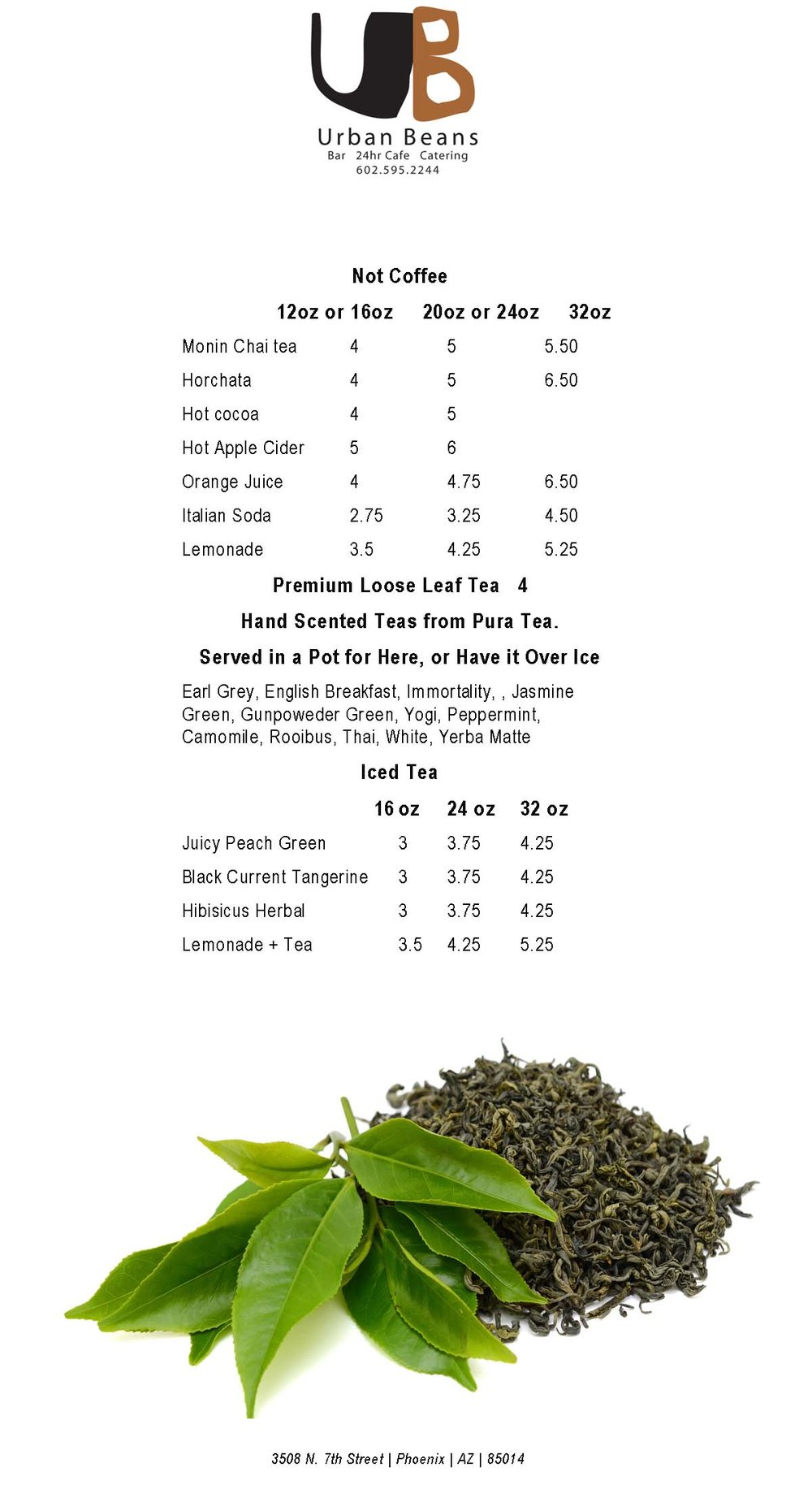 Urban Beans Tea and Non-Coffee Beverage Menu