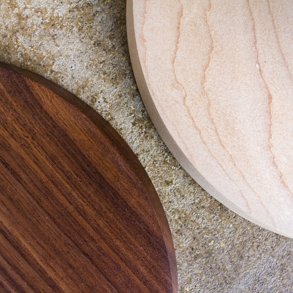Available wood finishes: Maple, Walnut