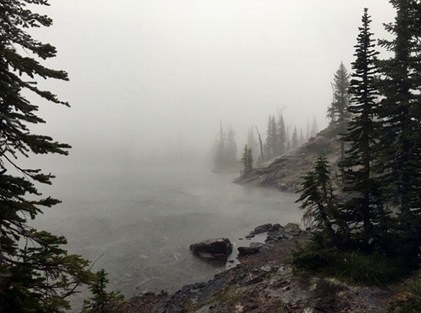 Fog settling in on Sapphire Lake