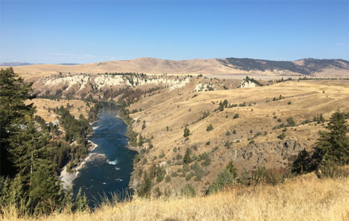 The view of the Flathead River from the lookout atop Salish-Kootenai Dam