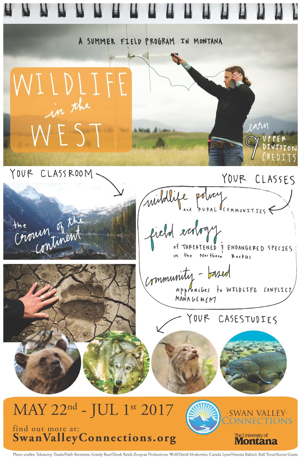 WILDLIFE IN THE WEST MAY 22 - JULY 1 A 9-credit college field program on the ecology and management of endangered species in Montana's working landscapes.