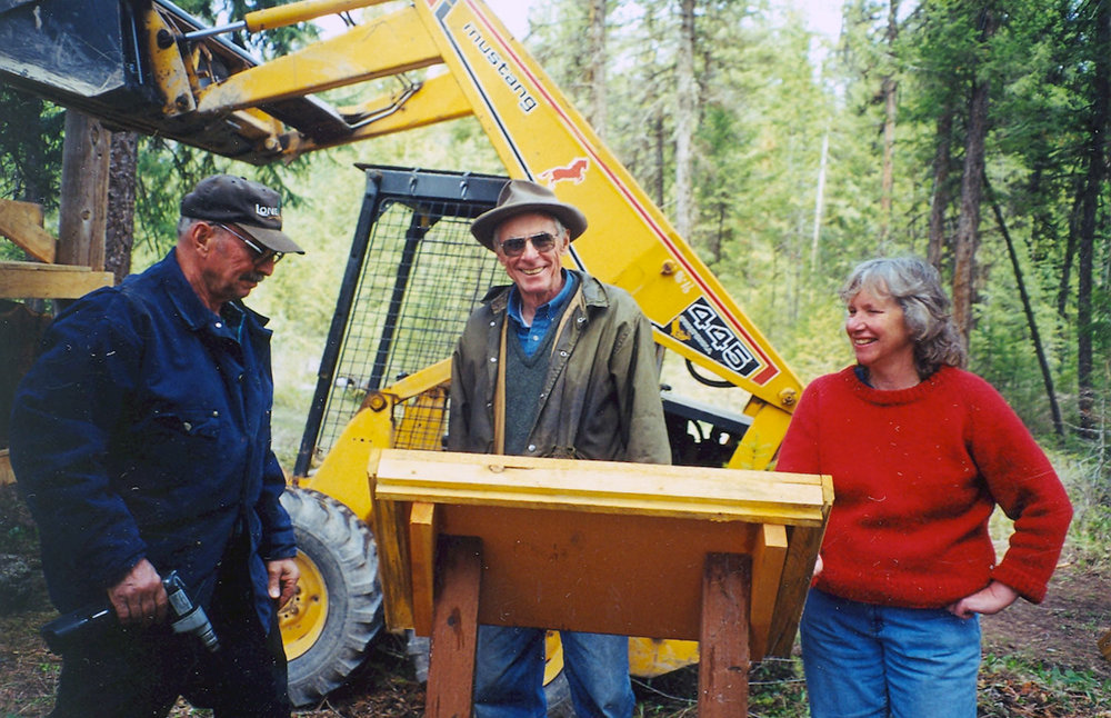 Working on the interpretive trail at Swan Ecosystem Center, left to right: Neil Meyer, Rod Ash and Anne Dahl. CREDIT: Swan Ecosystem Center.