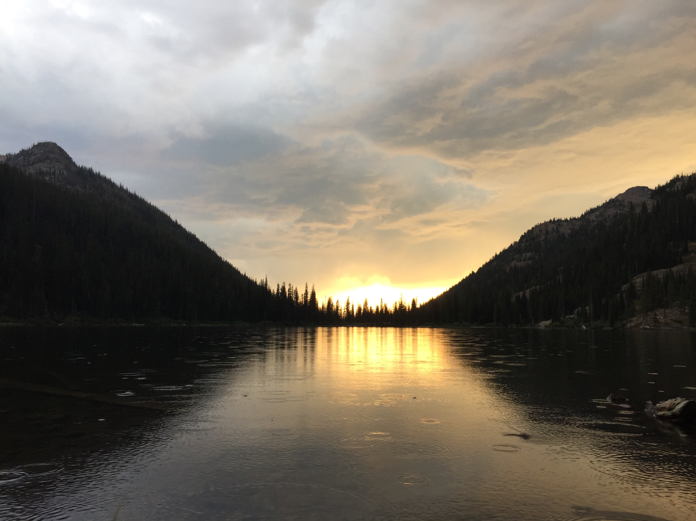Rainy sunset over Upper Holland Lake.     Photo by Angela Mallarias