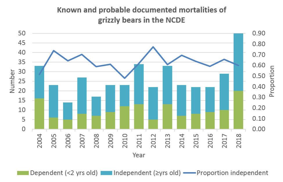 "This graph shows the 14 year trends in the NCDE mortalities, or bears that were removed from the ecosystem by death or relocation. ""Probable"" mortalities include bears presumed to be fatally hit by automobiles, but whose bodies could not be found. 2018 was a record year of mortalities for both independent and dependent grizzlies. Credit: Montana Fish, Wildlife, and Parks"