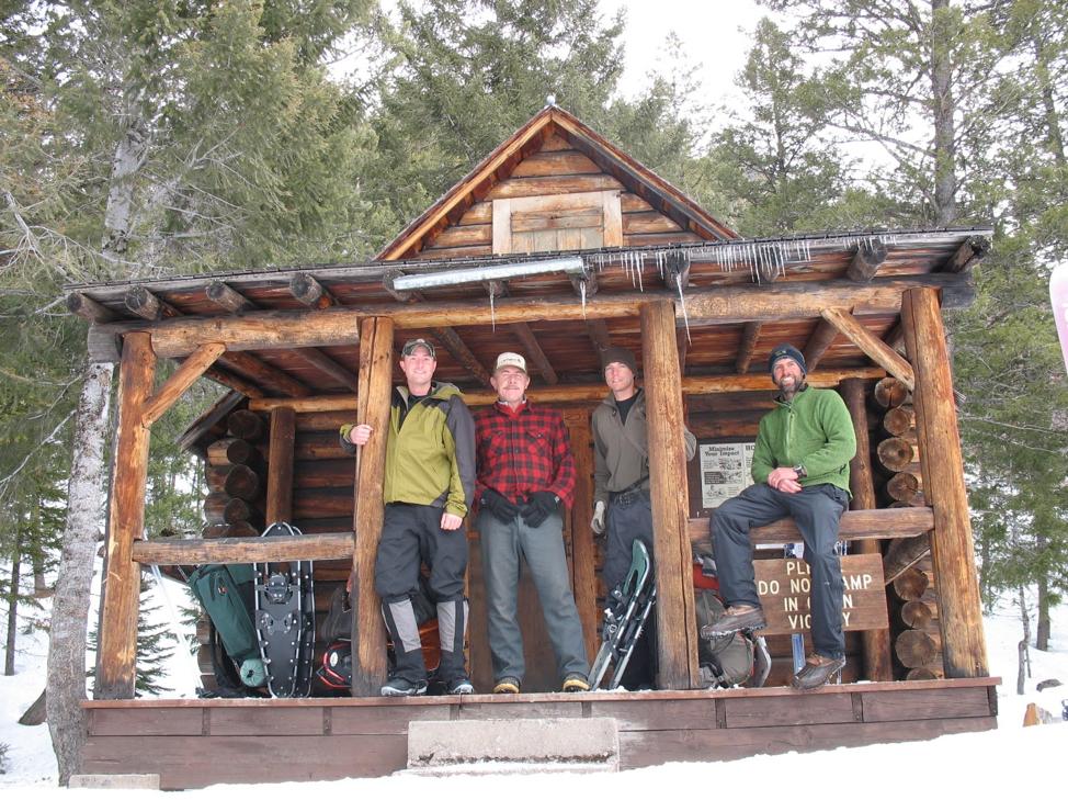 Luke Lamar, Mike Stevenson, Mike Mayernik, Eric Graham at the North Fork of Blackfoot cabin in the Scapegoat Wilderness. 2012.