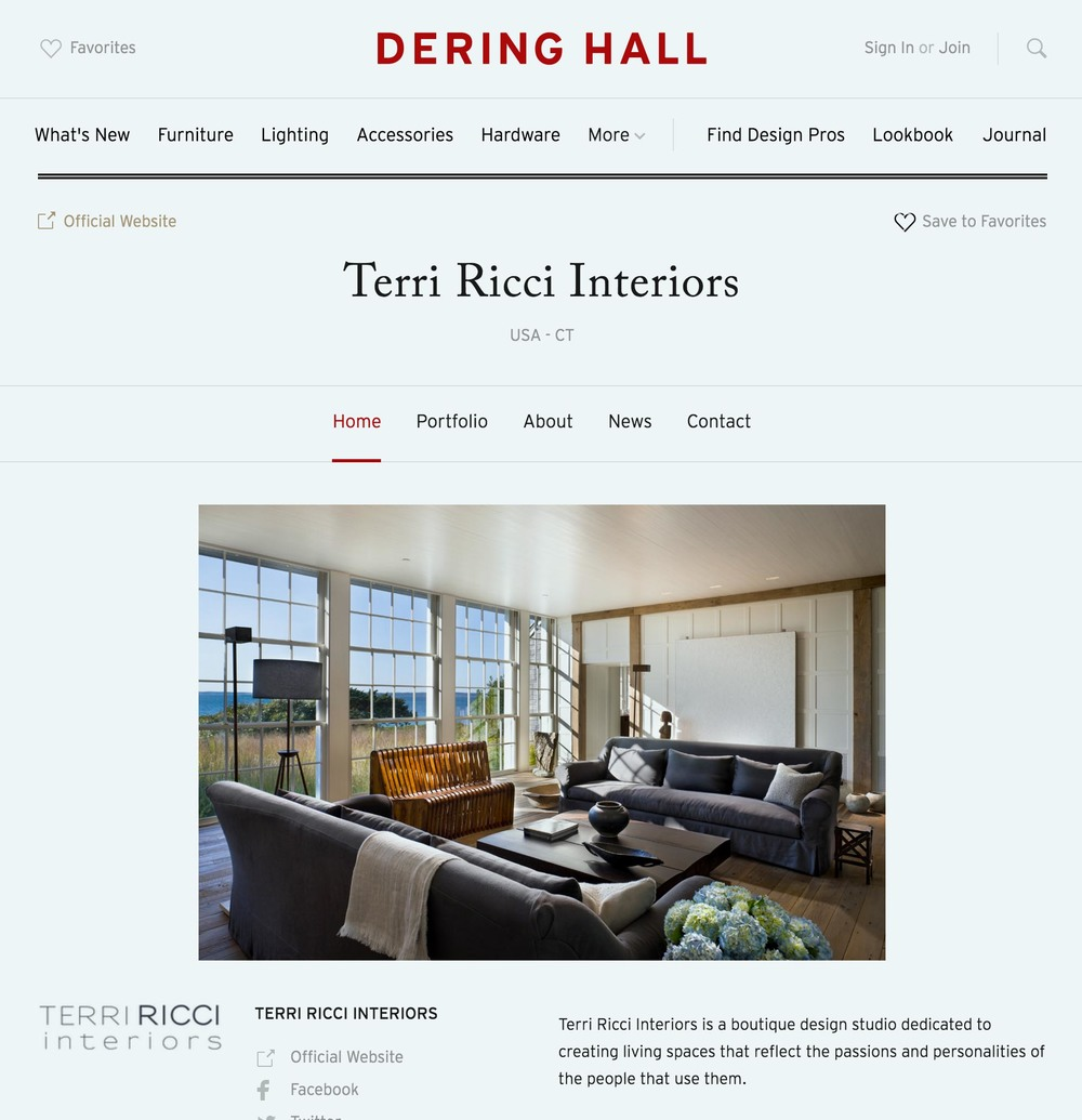 CLICK HERE  TO SEE TERRI RICCI INTERIORS FEATURED ON DERING HALL