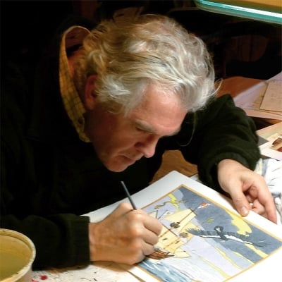 Doug Hansen at work on illustration from  California, the Magic island .