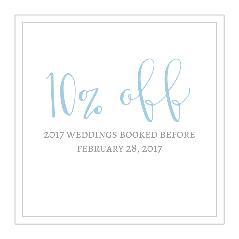 2017 Wedding Dates - 10 off remaining 2017 wedding dates