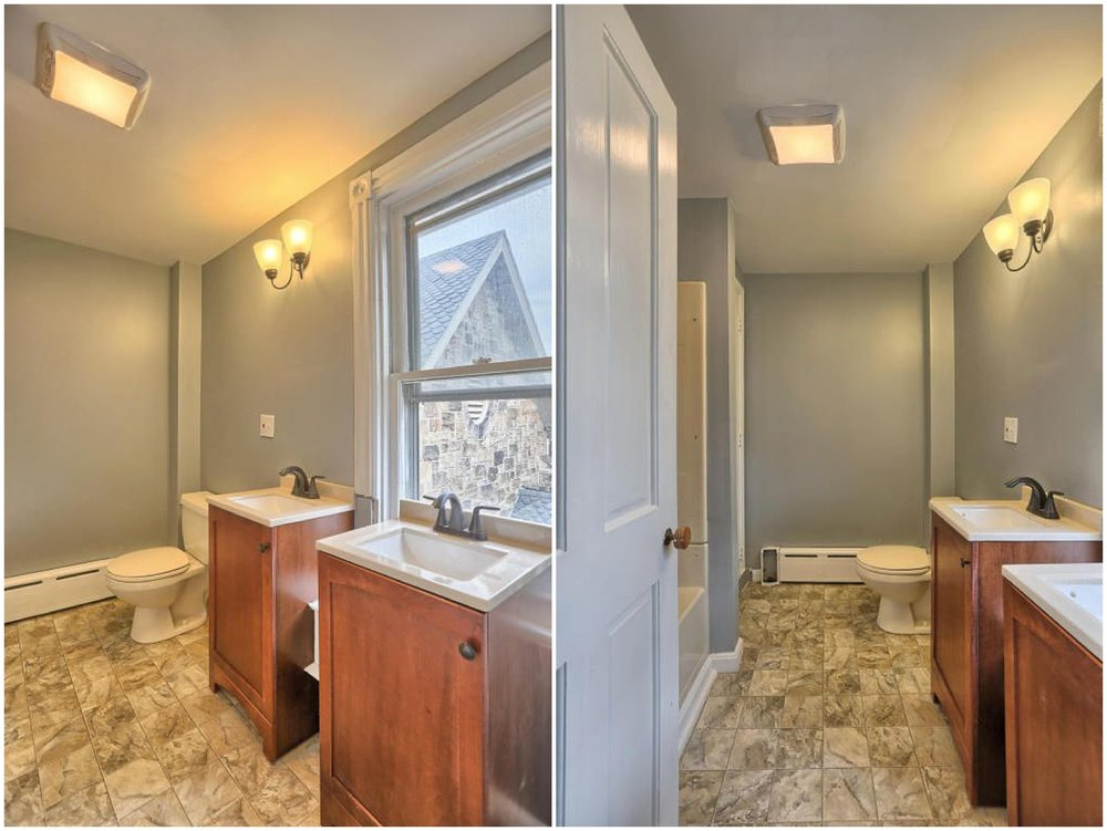 Admittedly this is much better than before but still not ideal. The sink and light are not aligned, the window frame has been cut out strangely and unprofessionally and the toilet was old and needed to be replaced.