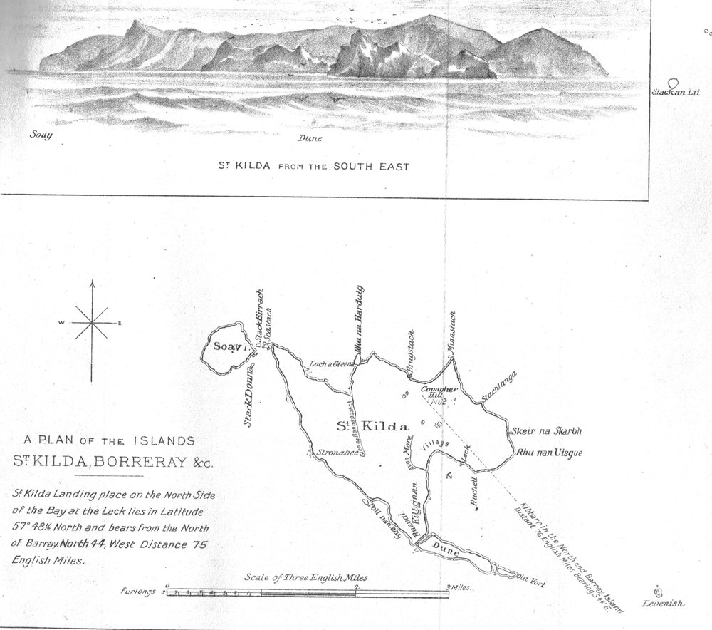 A map and sea level view of St Kilda (1888).