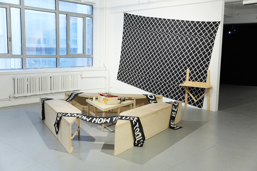 Group Exhibition #Callresponse March 23rd - May 5th at  Elizabeth Foundation for the Arts  - Sculptural bench collectively designed and build by IV Castellanos Image:  Akiko Ichikawa
