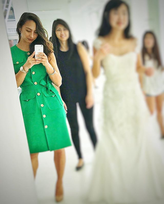 "I've been making the circuit around to my favorite wedding designer boutiques with my brides looking for ""the one"" a lot recently.  I love these moments with my girls as it's the time they become my muses. Seeing their excitement as the process starts to become real is such an emotional trigger. For me, the vision starts to shape and the magic begins.  I love being the behind the scenes girl and letting them shine. I love fashion and I'm honored they trust my opinion and let me help make their selection.  I have the best job in the world.  #sanfranciscoweddingplanner #weddingplanner #simonelennonevents #verawang"