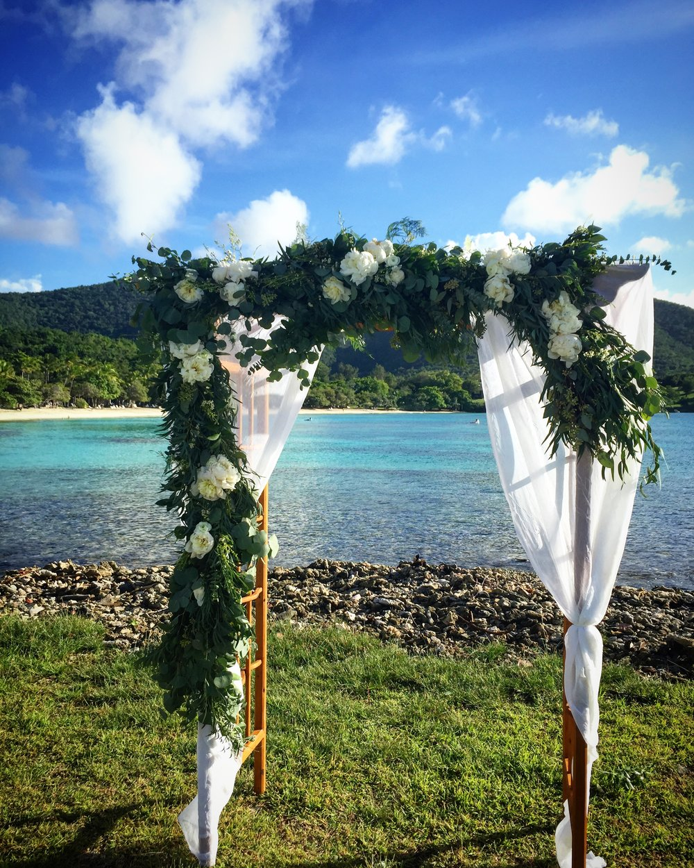 Arbor designed by Roses Too, for a beautiful wedding at Caneel Bay in St. John, USVI