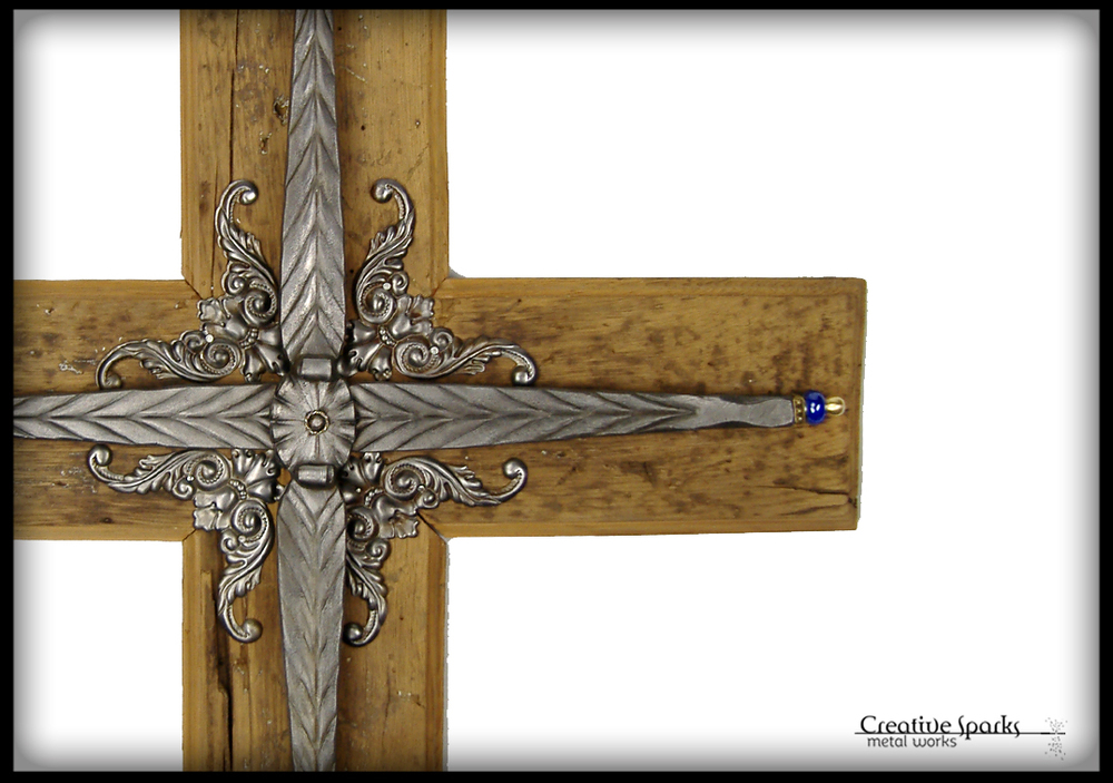Wall Cross w Reclaimed Barn Wood by Creative Sparks Metal Works