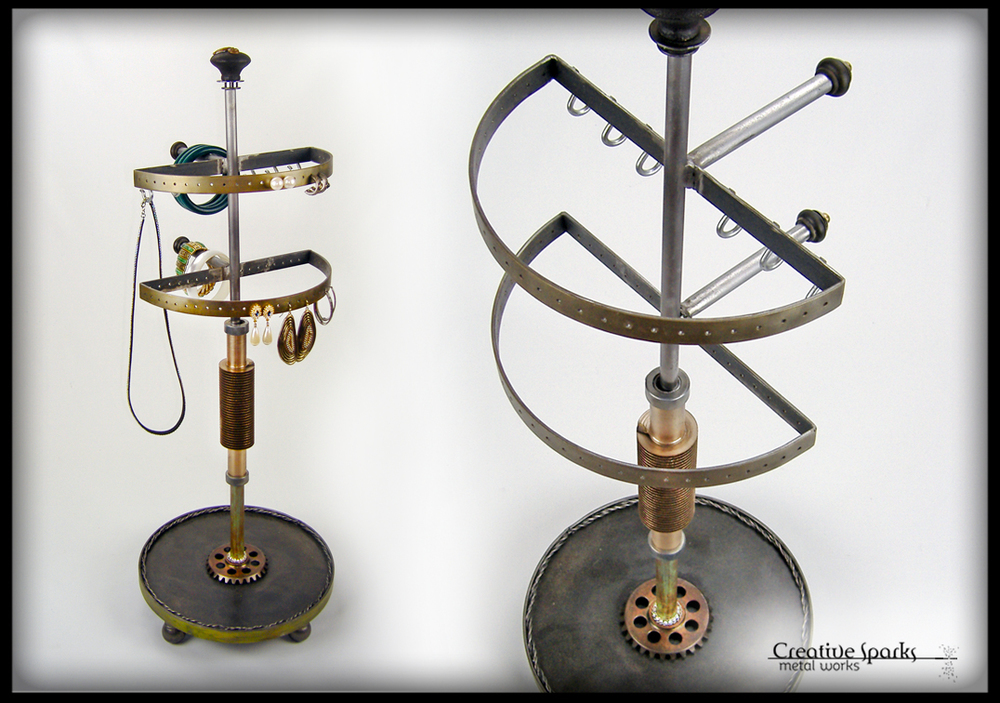 Industrial Inspired Jewelry Organizer Stand by Creative Sparks Metal Works