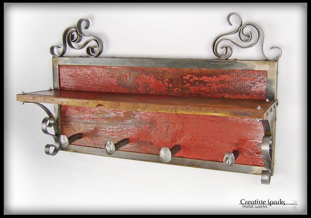 Reclaimed Barnwood Wall Shelf by Creative Sparks Metal Works