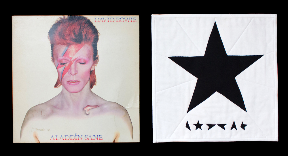 """Blackstar"" on the right, my mom's vinyl copy of Aladdin Sane from her college days in the 1970s on the left."