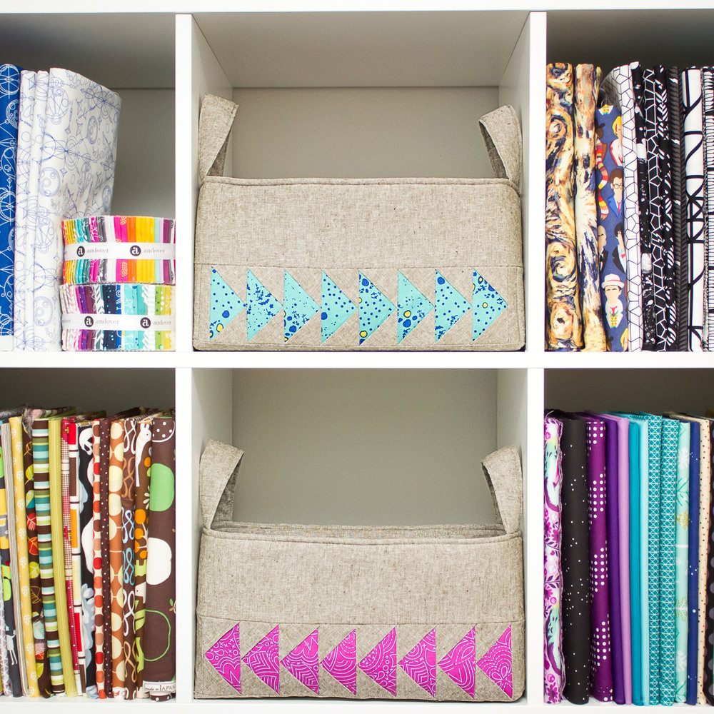 The Elizas hanging out on my IKEA kallax shelving unit with my fabric stash.