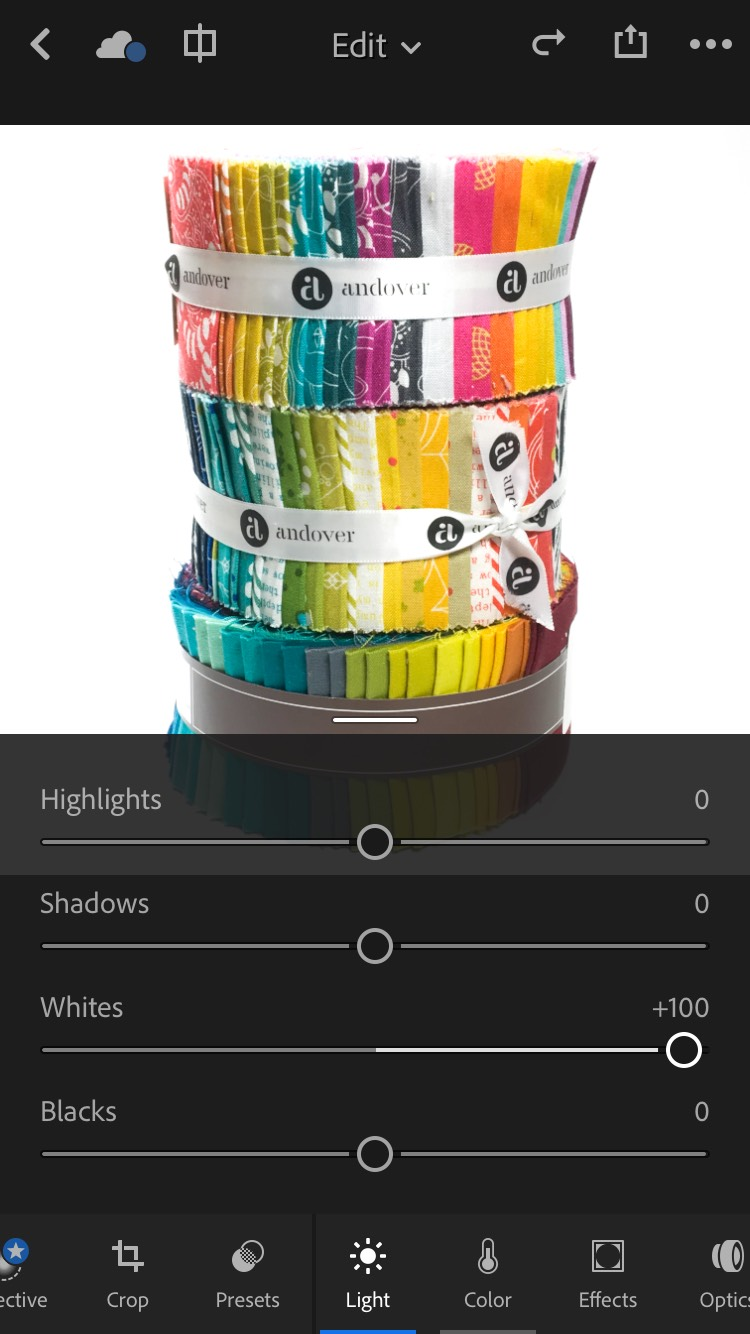 Exposure adjustment in the Lightroom iOS app