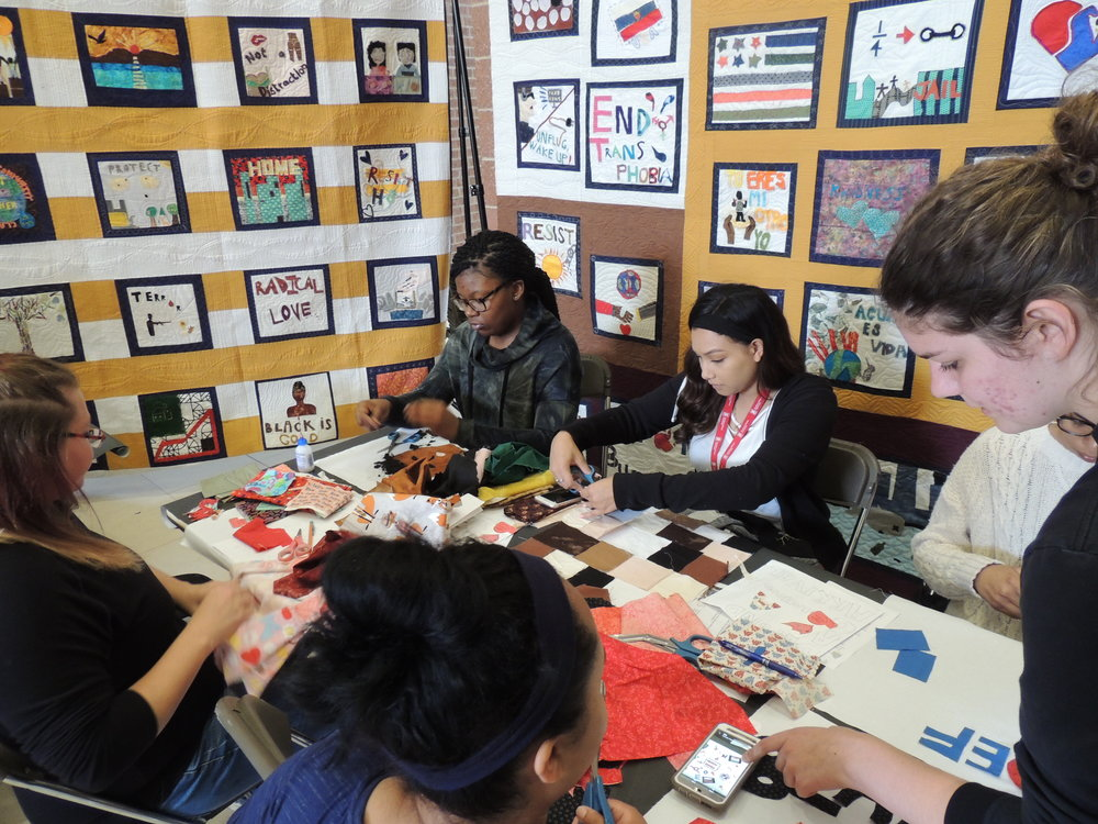 NIU students at a Social Justice Sewing Academy work at the Pick Museum of Anthropology