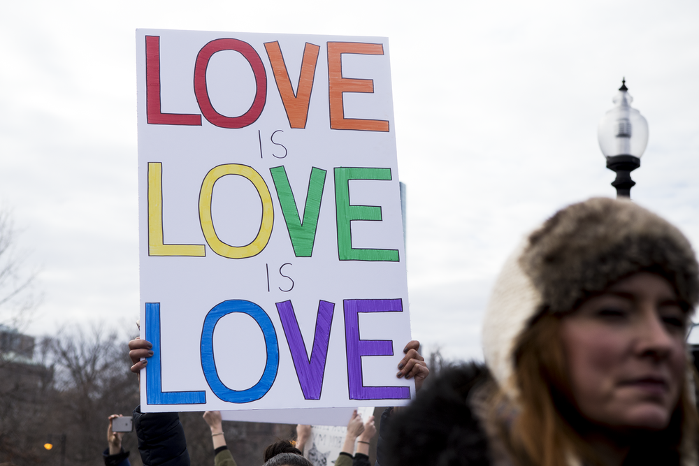 Love is love is love sign in rainbow at the women's march on washington sister march in Boston.