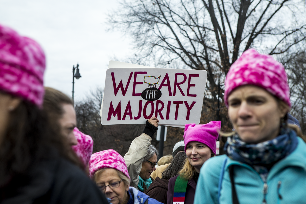 "protest sign at the women's march on washington sister march in boston reading ""we are the majority"" surrounded by women wearing pink pussy hats."
