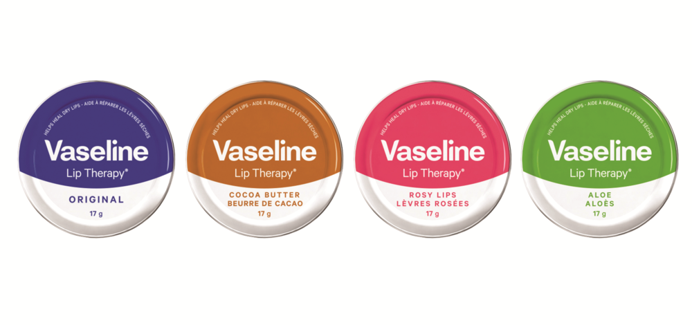 Vaseline Lip Therapy Tins, $5 each. Available at drugstores and mass-market retailers across Canada.