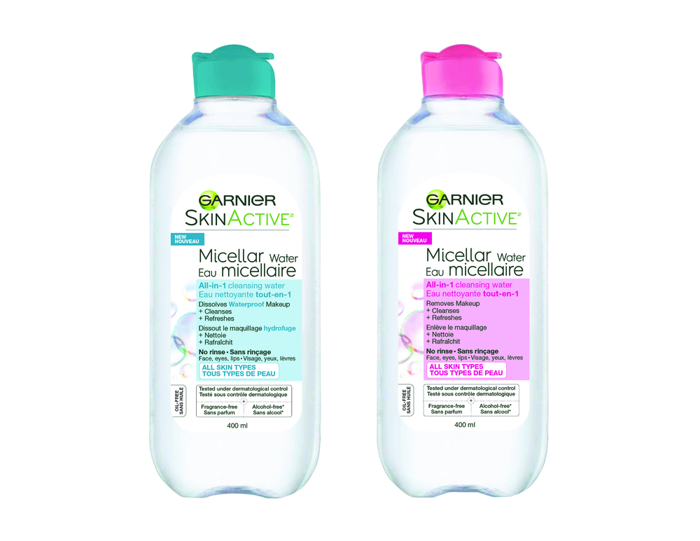 Garnier Skin Active Micellar All-in-One Cleansing Water, $9.99; Garnier Skin Active Micellar All-in-One Cleansing Water, Waterproof. $9.99.  Available at drugstores and mass-market retailers across Canada.