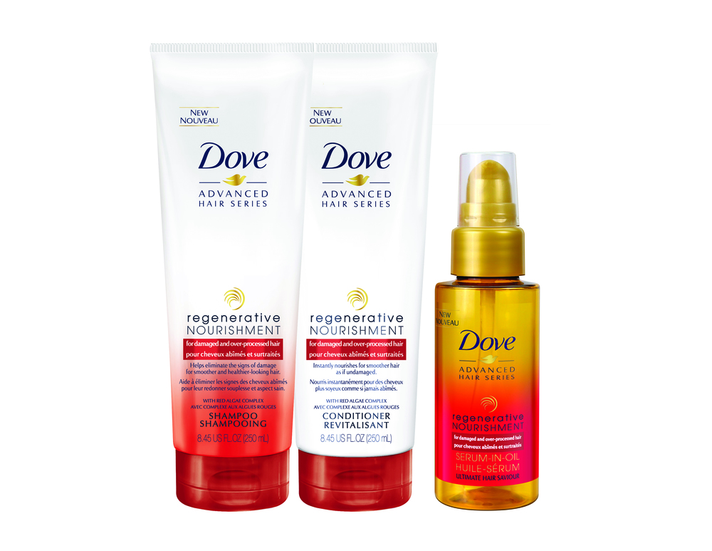 Dove Advanced Hair Series Regenerative Nourishment Shampoo, $9.99; Dove Advanced Hair Series Regenerative Nourishment Conditioner, $9.99; Dove Advanced; Hair Series Regenerative Nourishment Serum-in-Oil, $12. Available at drugstores and mass-market retailers across Canada.