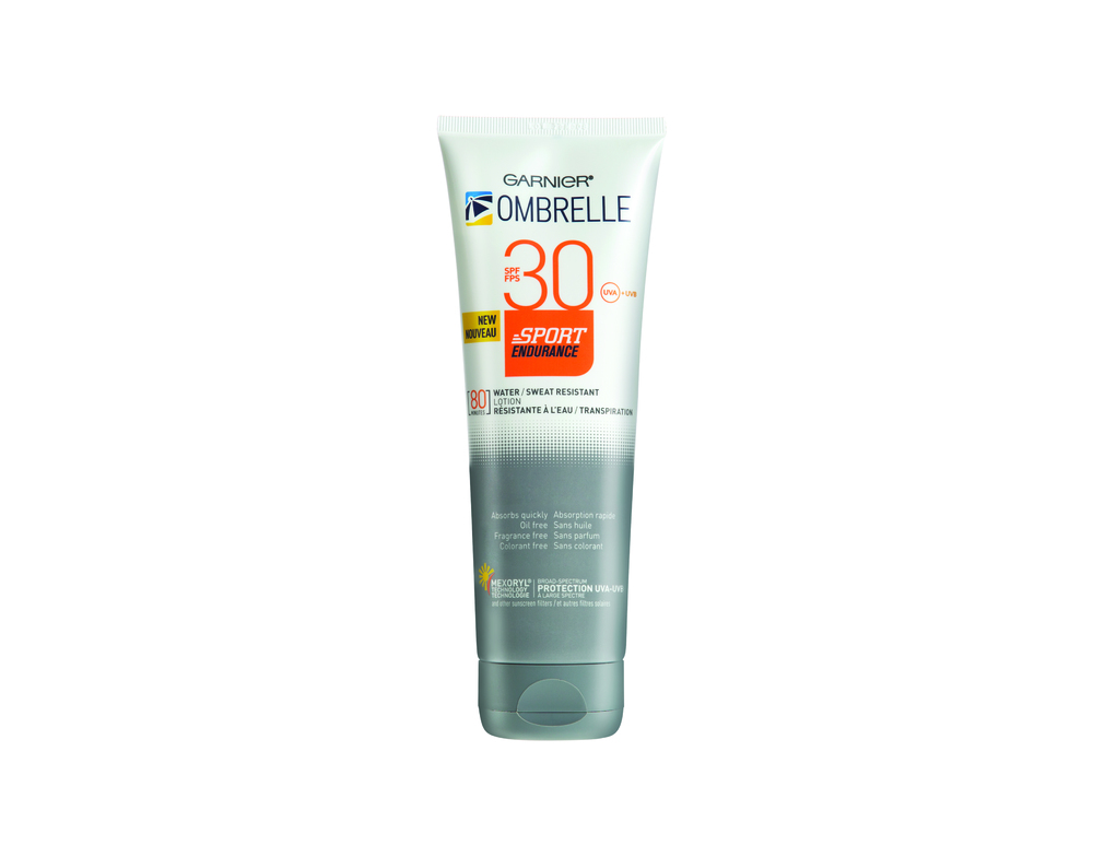 Garnier Ombrelle Sport Endurance SPF50, SPF 30, $19.99. Available at drugstores and mass-market retailers.