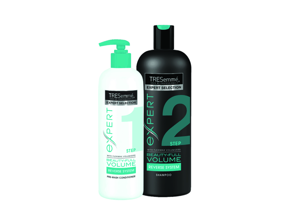 Tresemmé Beauty-Full Volume Reverse System Step 1 Pre-Wash Conditioner and Shampoo, $8.99 each. Available at drugstores and mass-market retailers.