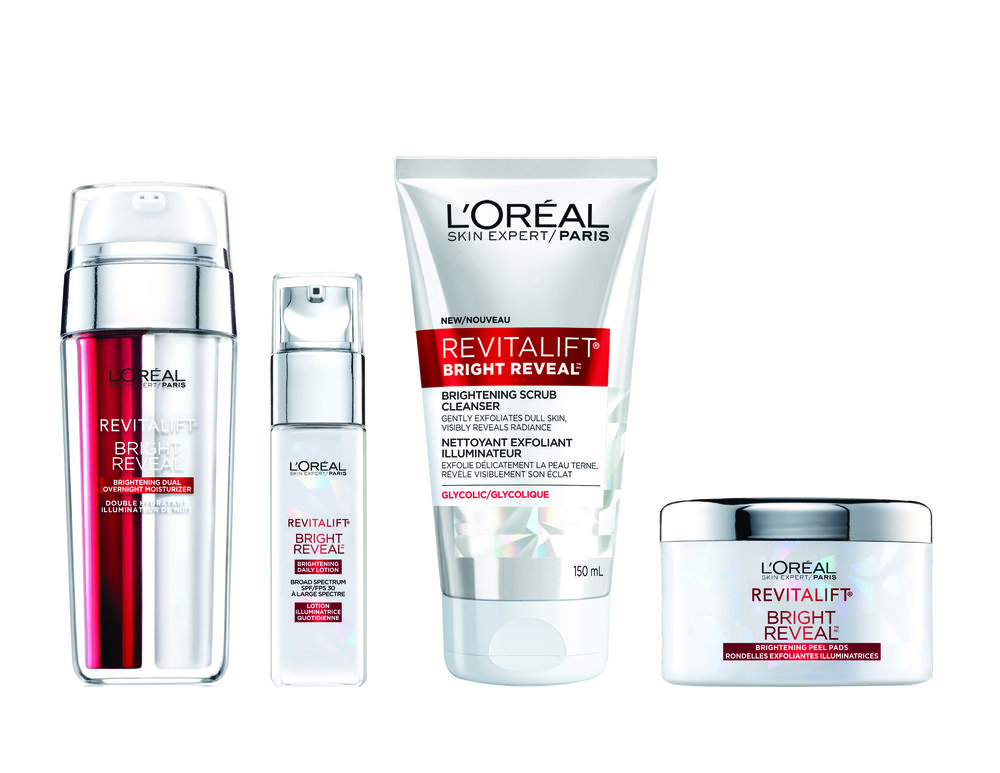 L'Oréal Paris Revitalift Bright Reveal Brightening Peel Pads, $18.99; L'Oréal Paris Revitalift Bright Reveal Brightening Daily Lotion SPF 30, $31; L'Oréal Paris Revitalift Bright Reveal Brightening Dual Overnight Moisturizer, $31; L'Oréal Paris Revitalift Bright Reveal Brightening Scrub Cleanser, $12.99. Available at drugstores & mass market retailers across Canada.