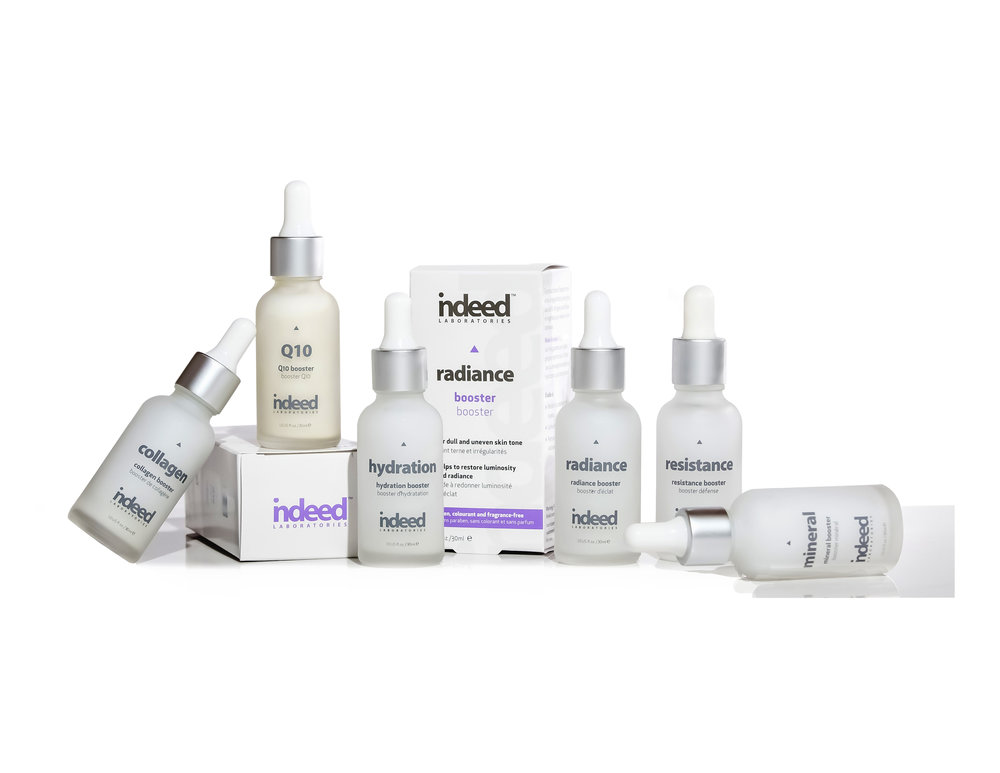 Indeed Labs Boosters Hydration, Resistance, Collagen, Radiance, Q10 and Mineral, $24.99 each. Available at Shoppers Drug Mart and  indeedlabs.com