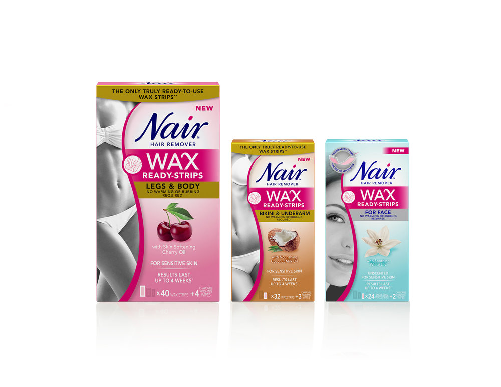 Nair WAX READY-STRIPS, from $9.00. Available at select food, drug and mass retailers.
