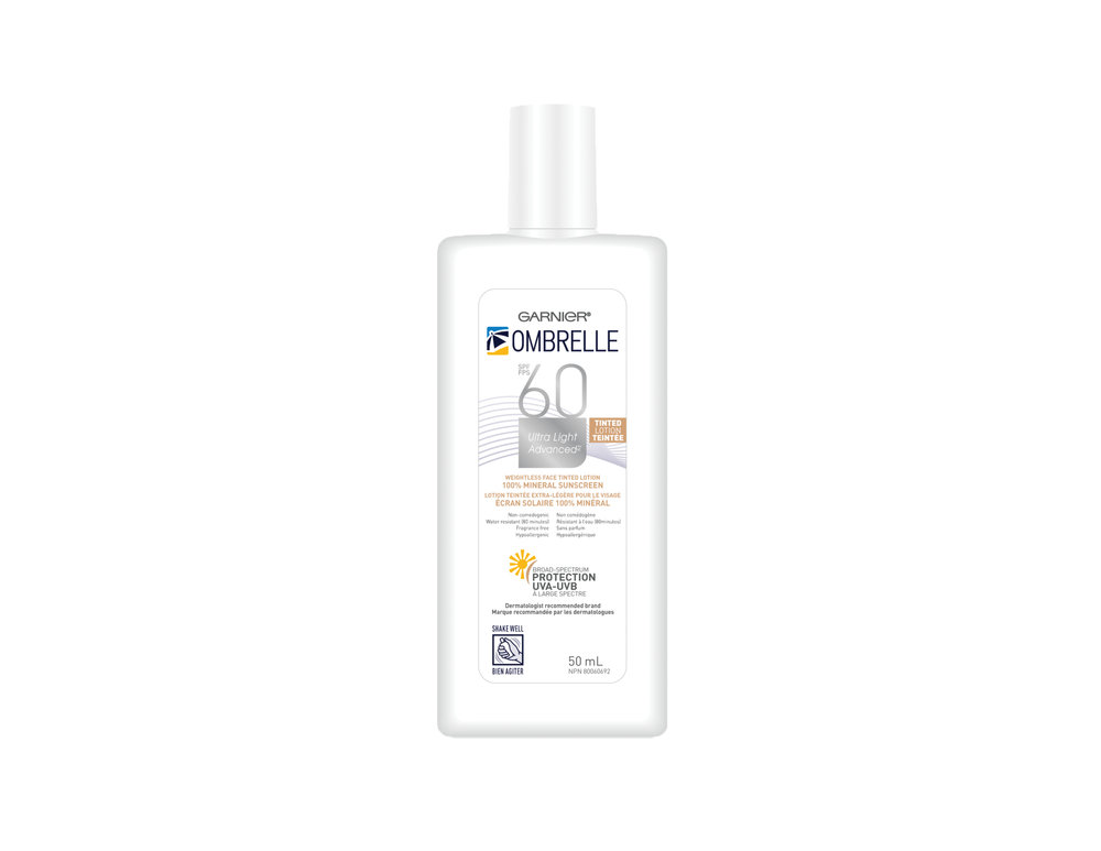Garnier Ombrelle Ultra Light Advanced 100% Mineral Tinted Face Lotion with SPF 60, $17.99. Available pharmacies and mass market retailers across Canada.